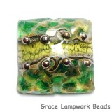 11816304 - Dark Green w/Silver Foil Pillow Focal Bead