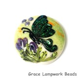 11834902 - Green Sparkle Garden Butterfly Lentil Focal Bead