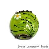 11838502 - Spring Green Florals Lentil Focal Bead