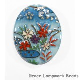 HA043246 - 32x46mm Porcelain Puffed Oval Sky Blue/Floral