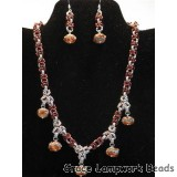 LC-10703801 - Transparent Red w/Silver Foil Necklace & Earrings