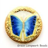 PB073600 - 36mm Porcelain Disk Blue Butterfly