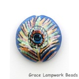 PP012400 - 24mm Porcelain Disk Blue Peacock Feather