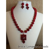 LC- Necklace/Earrings with 10700307 and 11810004 Red w/Black String Beads