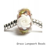 SC10060 - Large Hole Brown w/White Flower Rondelle Bead