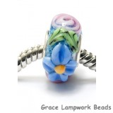 SC10065 - Large Hole Blue w/Pink Raised Flower Rondelle Bead
