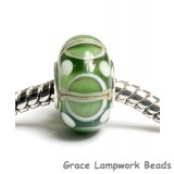 SC10067 - Large Hole Light Green w/Ivory Silver  Rondelle Bead