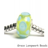 SC10074 - Large Hole Green w/Light Blue Dots Rondelle Bead