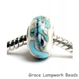 SC10075 - Large Hole White w/Black and Blue String Rondelle Bead