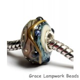 SC10081 - Large Hole Beigew/Blue Gold String Bumps Rondelle Bead