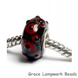 SC10084 - Large Hole Red w/Black Bumps Rondelle Bead
