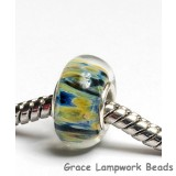 SC10088 - Large Hole Yellow w/Blue  Boro Rondelle Bead