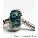 SC10092 - Large Hole Blue with Green  Boro Rondelle Bead