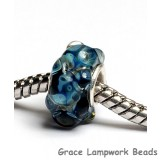 SC10093 - Large Hole Black with Blue Bumps Boro Rondelle Bead