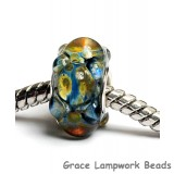 SC10094 - Large Hole Blue w/Yellow Bumps Boro Rondelle Bead
