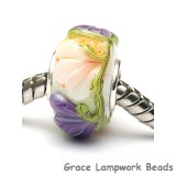 SC10099 - Large Hole White w/Purple Flora Rondelle Bead