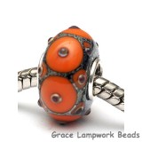 SC10100 - Large Hole Coral w/Metal Dots Rondelle Bead