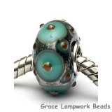 SC10102 - Large Hole Ocean Green w/Metal Dots Rondelle Bead