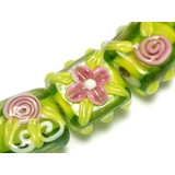 10102803 - Seven Pink & Green Tile Beads