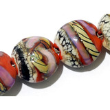 11105802 - Seven Coral w/Ivory Free Style Lentil Beads