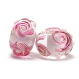 10107901 - Seven Pink Flower Rondelle Beads