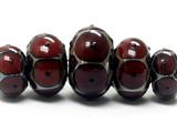 10703901 - Five Graduated Red w/Black Dots Rondelle Beads