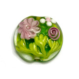 11812002 - Pink Rose w/Green Leaf Lentil Focal Bead