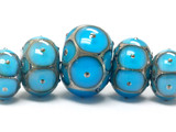 10409011 - Five Teal Blue w/Metal Dots Graduated Rondelle Beads