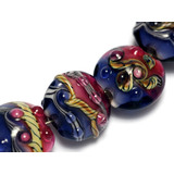 10108002 - Seven Pink/Purple Lentil Beads