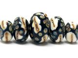 11105011 - Five Graduated Black/Ivory & Beige Rondelle Beads