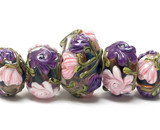 10407411 - Five Grad Light Pink & Purple Floral Rondelle Beads