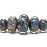 10602411 - Five Graduated Blue & Purple FreeStyle Rondelle Beads