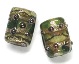 10503403 - Six Green w/Silver Foil Mini Kalera Beads