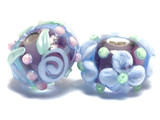 11002401 - Seven Light Purple w/Light Blue Rose Rondelle Beads