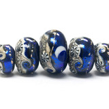 10411411 - Five Graduated Cobalt Celestial Rondelle Beads