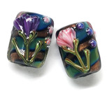 10407403 - Six Pink &amp; Purple Flora Mini Kalera Beads
