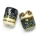10305803 - Six Green w/Ivory Japanese Kimono Mini Kalera Beads