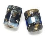 10406603 - Six Gray Blue w/Silver Foil Mini Kalera Beads