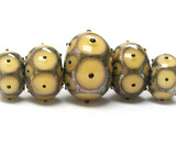 10800901 - Five Graduated Yellow w/Black Dots Rondelle Beads