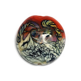 11806502 - Coral w/Ivory Free Style Lentil Focal Bead