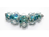 AB00411 - Five Graduated Turquoise w/Clear Dots Boro Dichr Bds