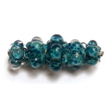 10408711 - Five Graduated Teal Blue Boro Rondelle Beads