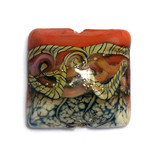 11806504 - Coral w/Ivory Free Style Pillow Focal Bead
