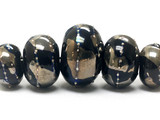 10204111 - Five Graduated Elegant Black Metallic Rondelle Beads