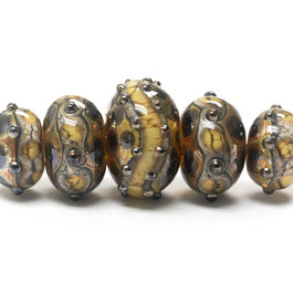 10800811-Five Graduated Black/Yellow Silver Foil Rondelle Beads