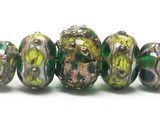 10503911 - Five Graduated Dark Green w/Silver Foil Beads
