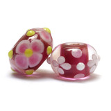10105901 - Seven Pink w/White & Lime Green Rondelle Beads