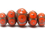10705211 - Six Coral w/Metal Dots Graduated Rondelle Beads