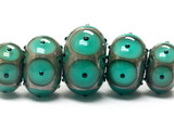 10503801 - Five Graduated Ocean Green w/Black Dots Rondelle Beads