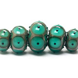 10503801 - Five Graduated Ocean Blue w/Black Dots Rondelle Beads